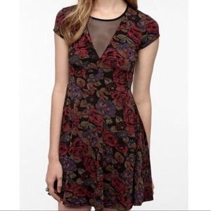 Kimchi Blue Floral Dress with Mesh Inserts